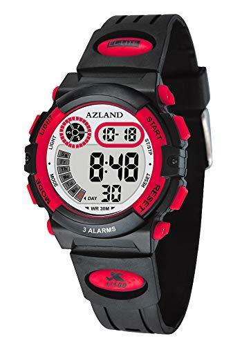 (AZLAND 3 Multiple Alarms Reminder Sports Kids Wristwatch Waterproof Boys Girls Digital Watches Camo (Red))