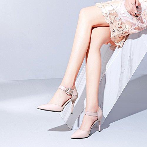 poco Donna Moda Rosa alto Scarpe acuminata testa Alla bocca 9cm AJUNR Da 34 tacco Sandali Fashion Fine 38 tacco profonda scarpe Ew6qFTnv