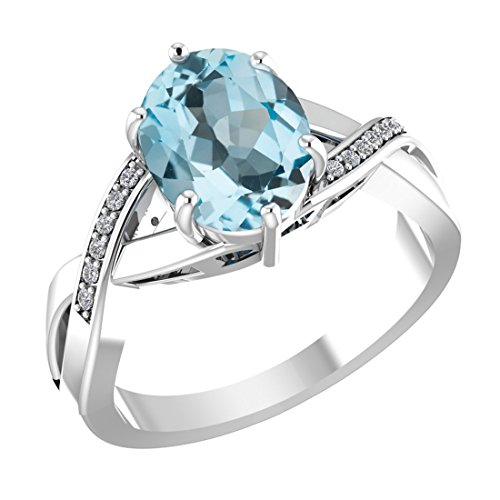 - Belinda Jewelz 925 Solid Real Sterling Silver 8x10 mm Oval Gemstone Prong Setting Diamond Rhodium Plated Engagement Wedding Classic Womens Fine Jewelry Twisted Band Ring, Light Sky Blue Topaz, Size 9