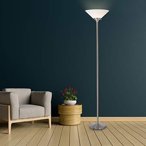 "Normande Lighting JP3-1131A Torchiere Floor Lamp, 71"", Brushed Steel"