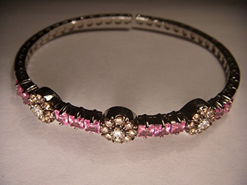- Stunning Estate 18K White Gold Pink Sapphire Champagne Diamond Bangle Bracelet