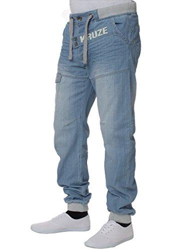 Taglie Light Uomo Elasticizzato Vita Marca Denim Slavato Risvolto Stonewash Tutte Pantaloni Jeans Con Di Kruze 7n11x