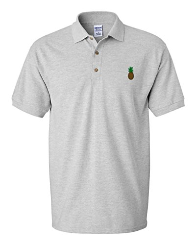 Pineapple Embroidery Design Adult Cotton Short Sleeve Polo Shirt Oxford Gray (Cotton Embroidered Oxford Shirt)