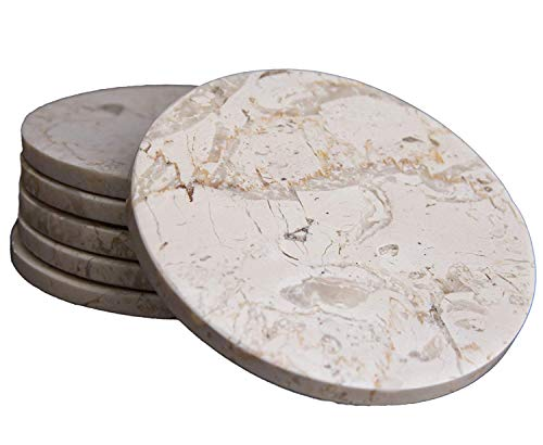 Stone Coasters Set of 6, Beige Marble Stone Coasters Polished Coasters 3.5 Inches (9 cm) in Diameter Protection from Drink Rings