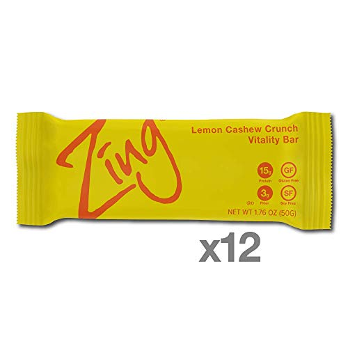 Zing Vital Energy Nutrition Bar, Lemon Cashew Crunch, (12 Bars), High Protein, High Fiber, Low Sugar, Tangy Natural Flavor, Cashew Butter