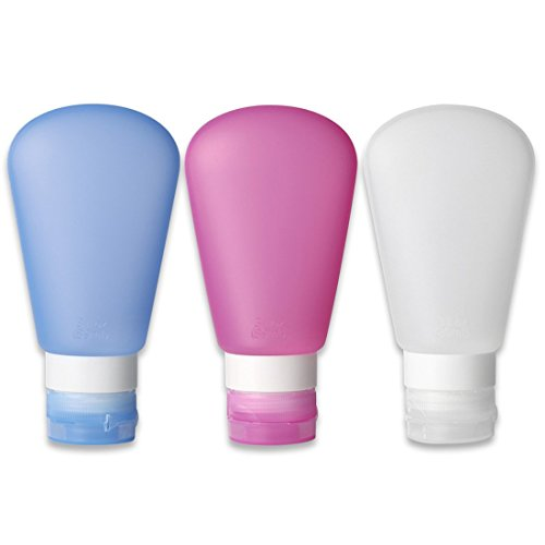 Kitdine Portable Soft Silicone Travel bottles Set (3 OZ, Pink + White + Blue)
