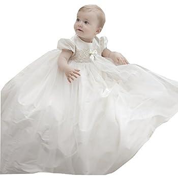 Kelaixiang White Satin Tulle Christening Robe Lengthy Gown Jewel for Child