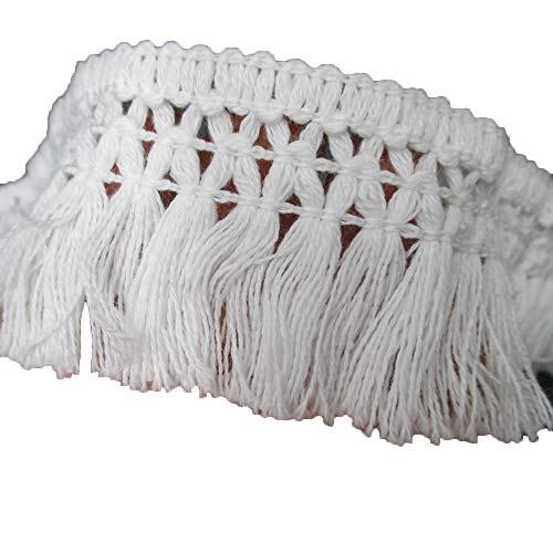 Cotton Tassel Fringe in White 1-1/2 Inch Wide Pack of 10 Yards