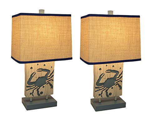 Blue and White Coastal Crab Table Lamp with Linen Look Shade Set of 2