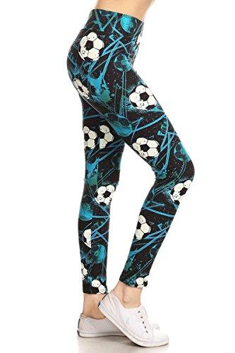 Leggings Depot YOGA Waist REG/PLUS Women's Buttery Soft Leggings (Plus Size (Size 12-24), Soccer Babe) by Leggings Depot (Image #1)