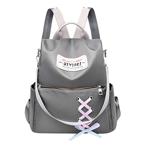 (College Backpack Chest Strap - ✔ Hypothesis_X ☎ Travel Backpack Nylon Shoulder Bag Solid for Women, Girl, Student Gray)