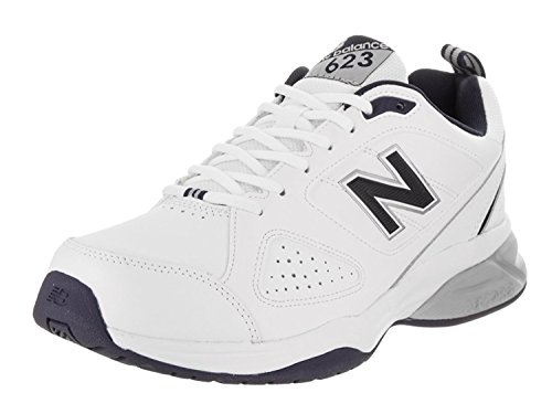 New Balance Mens MX623v3 Training Shoe, Blanco/azul marino, 42 2E EU/8 2E UK