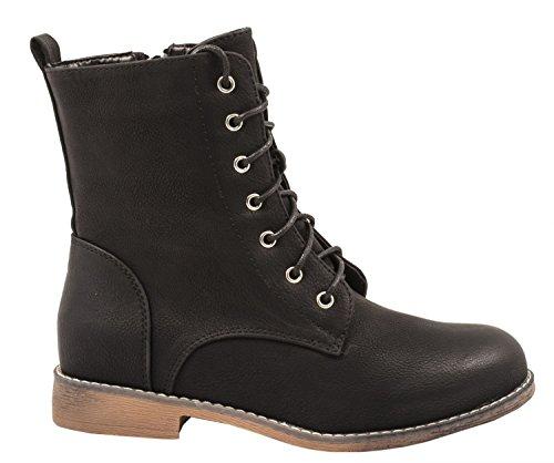 Elara Kanada Boots Zipper Worker Blockabsatz Spitze Damen Schwarz Stiefeletten mit zrxtXnzqw