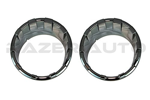 Razer Auto Black Chrome Plated Headlight Ring Trim Bezel Headlamp Overlay Cover for 07-15 Jeep Wrangler ()