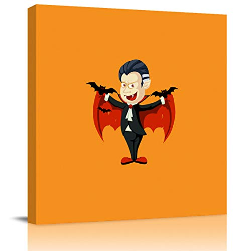 Modern Canvas Wall Art Square Artwork Wall Decor,Cartoon Vampire Design Happy Halloween Art Paintings for Bedroom Living Room Home Office Hotel,Stretched by Wooden Frame,Ready to Hang,16 x 16 Inch]()
