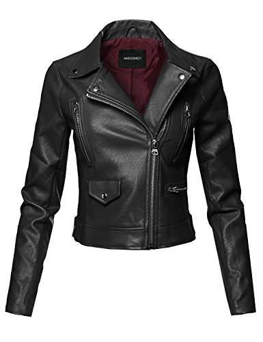 Womens Black Moto Jacket - 8