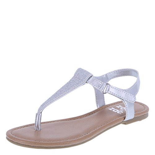 Little Girls Sandals (Zoe and Zac Girl's Silver Glitter Quinn Sandal Little Kid Size 13 Regular)