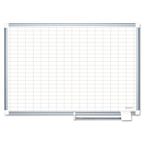 MasterVision Magnetic Platinum Plus Porcelain Dry Erase 1 x 2 inch Grid Planner, 48 x 72 inches Aluminum Frame (CR1230830)