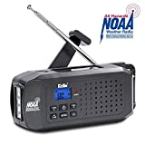 KELLO Emergency Solar Hand Crank Portable Radio, NOAA Weather Radio for Household and Outdoor Emergency with AM/FM/SW, LED Flashlight,2200mAh Power Bank USB Charger,Black