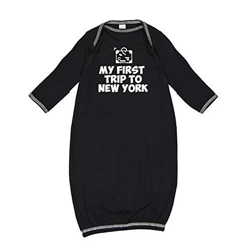 - My First Trip to New York - Baby Cotton Sleeper Gown (Black Newborn)