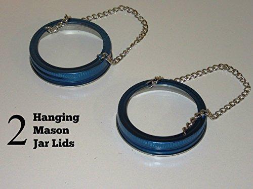 Set of 2 - Blue Hanging Mason Jar Lids - wedding garden outdoor - Lantern Tea Light Luminaries - (2 Hanging Lids)