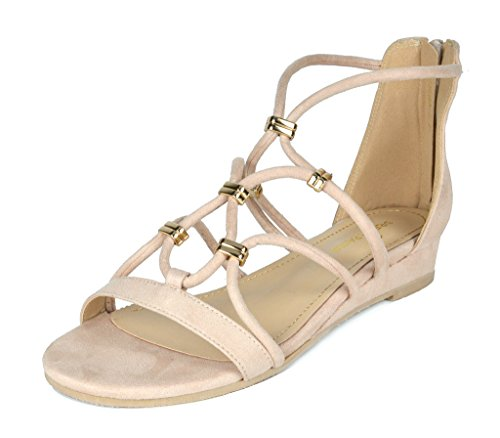 DREAM PAIRS Women's Formosa_2 Nude Low Platform Wedges Ankle Strap Sandals Size 7 B(M) US