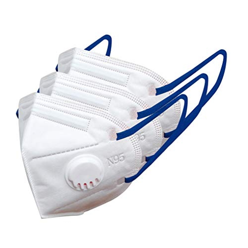 AmaZeus N95 Face Mask 5 Layers Melt Blown Fabric Made In India – 2510V (White, Blue band) with Nose Valve (Pack of 3) – by AT