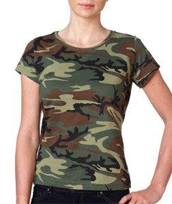 Code V Ladies' 4 oz. Fine Jersey Camouflage T-Shirt, Medium, Green Woodland