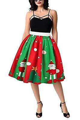 Pink Queen Womens Christmas 3D Digital Print Pleated Flared Skater Skirt