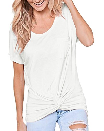 ACHIOOWA Womens Summer Twist Front Shirt Short Sleeve Casual Tops Front Pocket Blouse