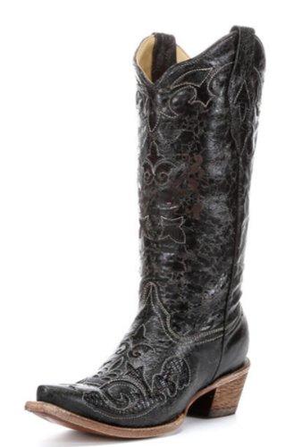 CORRAL Women's C1198 Vintage Lizard Inlay Black Western Boots 7 ()