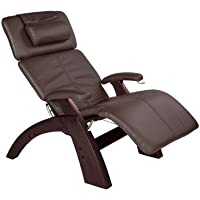 Human Touch Perfect Chair, Manual Base in Dark Walnut with a Espresso Bonded Leather Cover