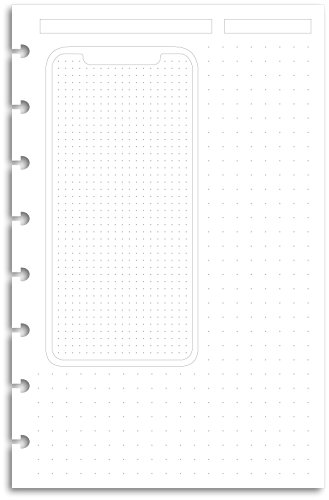iPhone X Design 32lb Heavyweight Junior Discbound Notebook Paper Refills Punched for Circa, Arc, TUL (Paper Punched)