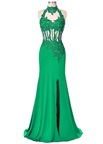 Lace Women's Green Dress Mermaid Prom Hole Nude Back Neck DYS Appliques High Tulle dY7qdpn