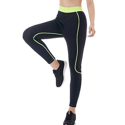 Hot Body Shapers Slimming Pants for Women - Weight Loss Pants Neoprene, High Waist Super Stretch Exercise Compression Hot Thermo Capris Waist Trainer (Black-Green, L)