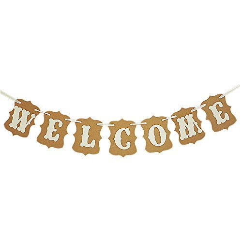 (MAGQOO Welcome Party Banner Wedding Birthday Bunting Sign Home Decorations Wedding Garland Photo Booth Props Bridal Shower)