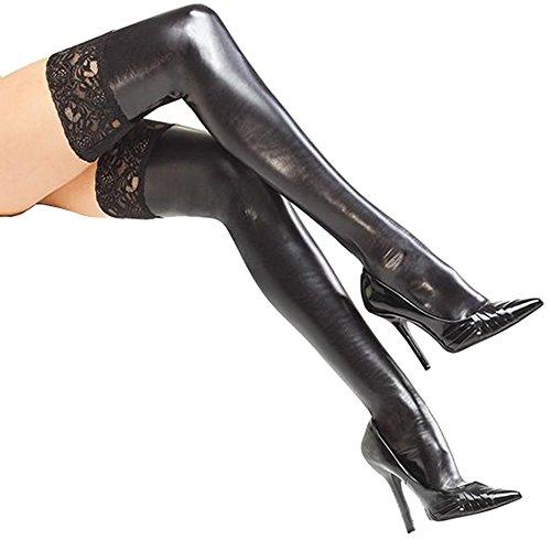 Sexy halterlose Strümpfe mit Spitze für Frauen, Oberschenkel hoch, hohe Strümpfe von Viskey 1 schwarz
