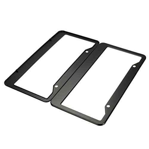 Hitommy 2 Pcs Black Metal Stainless Steel License Plate Frames with Screw Caps Tag Cover