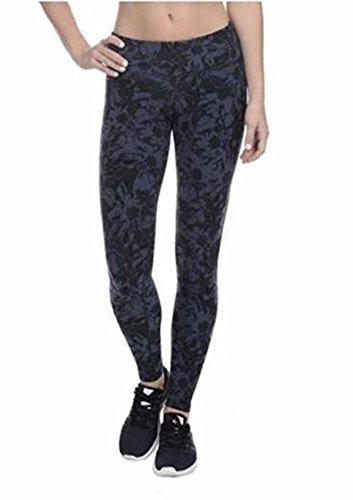 Danskin Womens Supplex CoolMax Active Stretch Printed Ankle Legging Yoga Pants (Medium, Midnight Navy Crinkle Flower)