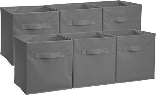 AmazonFundamentals Collapsible Fabric Storage Cubes Organizer with Handles, Gray - Pack of 6