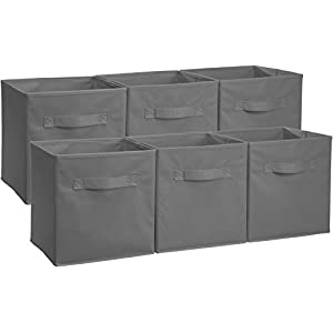 AmazonBasics Foldable Storage Cubes (6 Pack), Grey