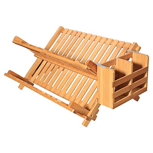 - Yardeen Collapsible Bamboo Dish Drying Rack Folding Kitchen Plate Holder.