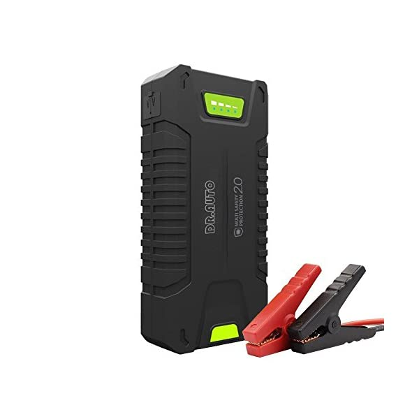 1000A Peak Current 20000mAh 12 Volt Portable Car Jump Starter (Fully Support Gasoline Vehicle, Up To 8.0L Diesel Engine) Battery Booster Power Bank With LED Emergency Flashlight By Dr.Auto