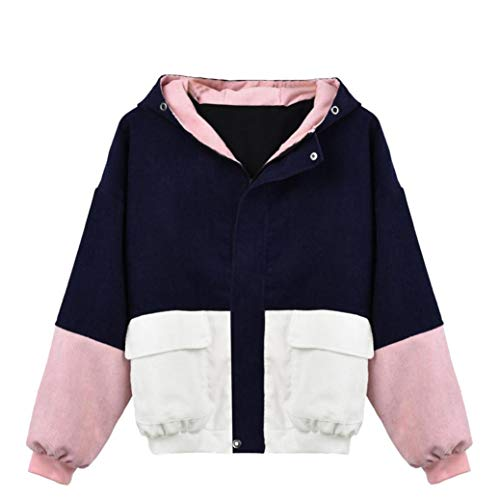 LisYOU Women's Color Block Hooded Casual Thin Windbreaker
