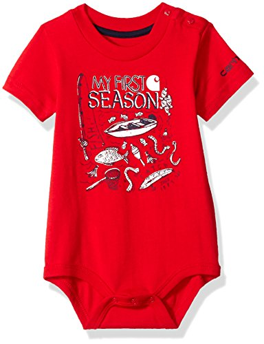 Carhartt Baby Boys Short Sleeve Body Shirt, Tango Red, 3M