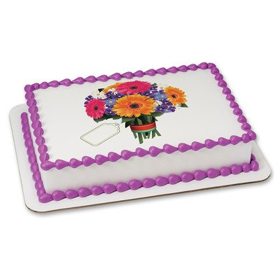Flowers Edible Icing Image for 1/4 sheet cake