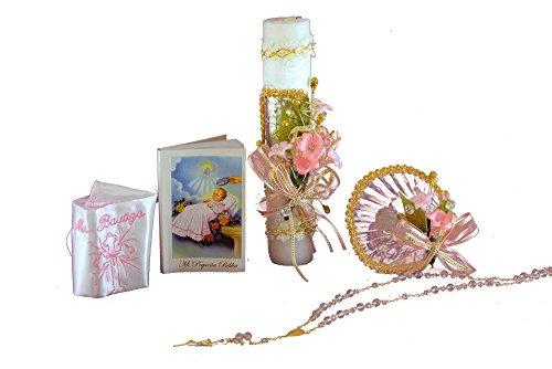 s. Bautizo Complete Set. Shell, Napkin, Rosary,Candle, Prayer Book. B50 ()