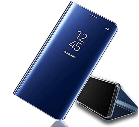 Sajni Creations S View Mirror Stand Flip Cover for Huawei Y9 2019  Blue Cases   Covers