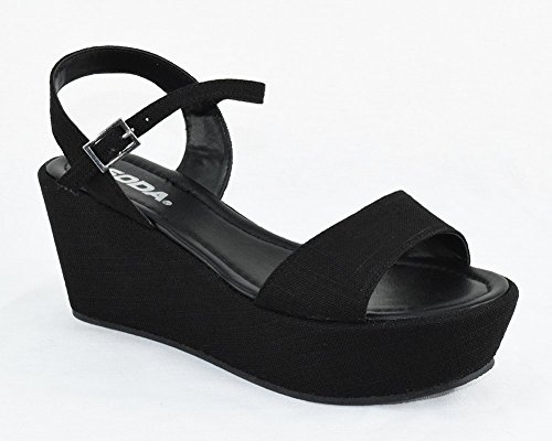 9b2e01a4420f Soda Women Summer Wedge Sandals Open Toe Platform Ankle Strap JOZY Black 7.5