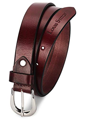 LOUIS STITCH Women's Rosewood Red Belt Italian Raw Leather Premium Formal Casual Slim Belts For Ladies With Chrome Buckle 1 Inch (24mm) (CALDRW)
